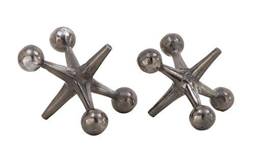 Deco 79 68962 Aluminum Jacks Sculptures (Set of 2), Gray by Deco 79