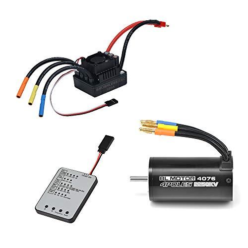 Jrelecs 4076 2250KV Brushless Motor & 120A Brushless ESC & LED Programming Card Combo Set for 1/8 RC Car (4076 2250KV)