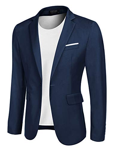 COOFANDY Men's Casual Blazer Jacket Slim Fit Sport Coats Lightweight One Button Suit Jacket (Blue, Medium+)