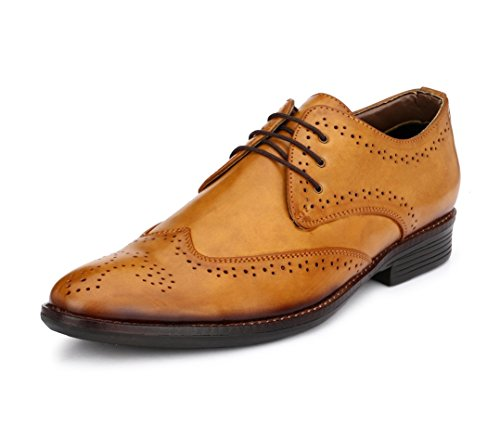 - Genuine Patent Leather Shoes Mens Dress Shoes Oxford Shoes Men Perforated Classic Brogue Wing-Tip Lace up(Tan,10)