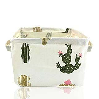 Small Foldable Storage Basket Canvas Fabric Waterproof Organizer Collapsible and Convenient for Nursery Babies Room 100% Cotton with Handle (Cactus)