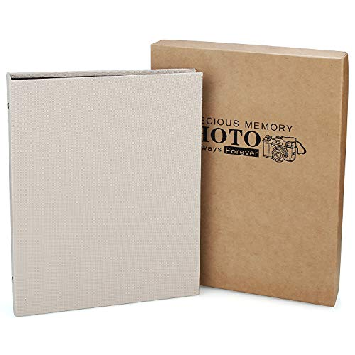 CenterZ Loose-Leaf Photo Album Scrapbook with Gift Box, 8.3x10.4 Cover, 60 Pages, Rustic Linen Cloth Three-Ring Binder with Double Sided Kraft Sheet Picture Booth for Memory Recollections (Champagne)