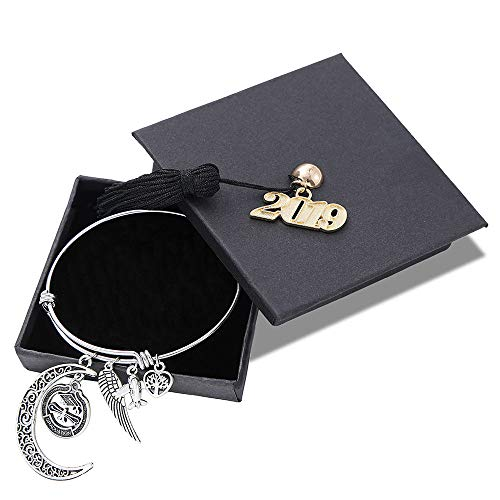 M MOOHAM Inspirational Graduation Gifts Bracelet - Class of 2019 Inspirational Adjustable Bracelet with Special Charms Graduation CapPerfect Graduation Friendship Classmates Gifts for Her Him (High Wing Airplane)