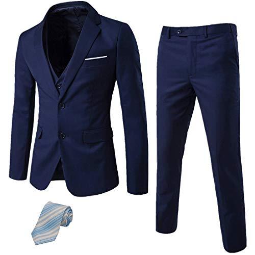 MY'S Men's 3 Piece Suit Notch Lapel Two Button Blazer Slim Fit Dress Business Wedding Party Jacket Vest Pants & Tie Set Deep Blue
