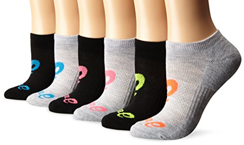 ASICS Women's Invasion No Show Running Socks, Pack of 6, Knockout Pink Assorted, Medium