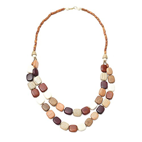 - Red Cube Wooden Beaded Necklace Multicolor Small Rocks Barrel Bead Charms 26