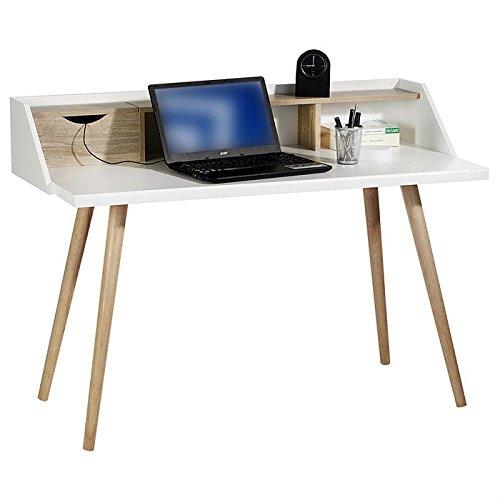 Console JOAN secrétaire style scandinave bureau table 3 casiers MDF décor blanc mat et chêne sonoma