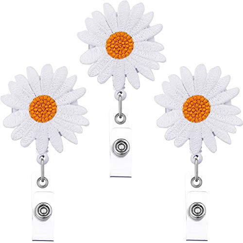 Daisy Flower Badge Reel Holder,Retractable Badge Holder with Rotating Alligator Clip for Women (Daisy Badge Clip)