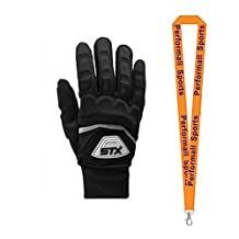 STX Bundle: Women's Thermo Lacrosse Gloves Large Black + 1 Performall Sports Lanyard
