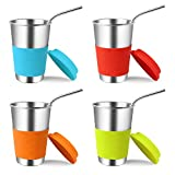 Stainless Steel Cups with Lids and Straws, Kereda 4 Pack 16 oz. Drinking Tumblers Eco-Friendly BPA-Free with Brush for Adults, Kids and Toddlers