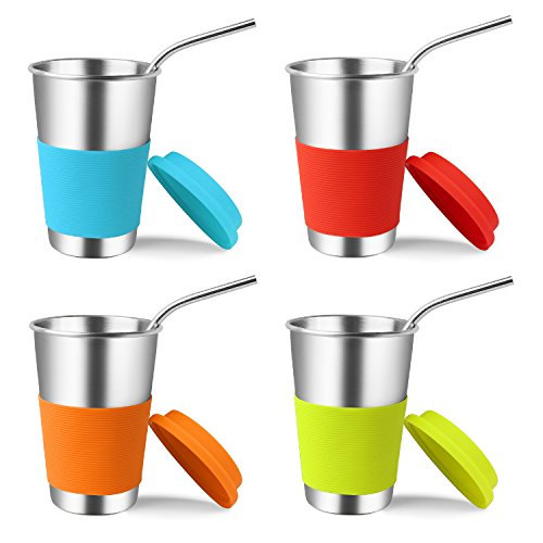 (Stainless Steel Cups with Lids and Straws, Kereda 4 Pack 16 oz. Drinking Tumblers Eco-Friendly BPA-Free with Brush for Adults, Kids and Toddlers)