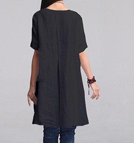 Coolred-femmes Manches Courtes Poches De Couleurs Pures Oversize Noir Robe Tunique