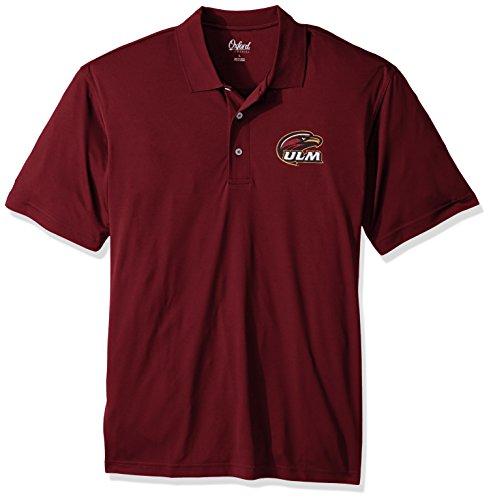(Oxford NCAA Louisiana Monroe Warhawks Adult Men Burke Short Sleeve Solid Polo, Medium, Maroon)
