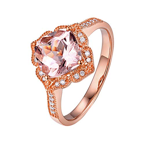 OldSch001 Women Wedding Ring Rose Gold Powder Square Unique Diamond Plated Cubic Zirconia Eternity Band Rings Cocktail Jewelry(Rose Gold,10)