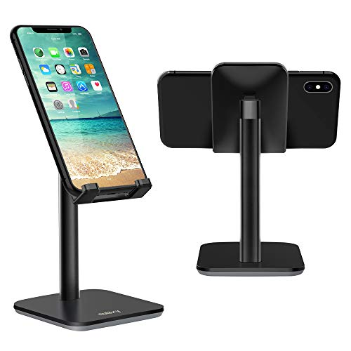 (Nulaxy Upgraded Version Phone Stand, Adjustable Cell Phone Stand, Cradle, Dock, Phone Holder for Desk Compatible with iPhone Xs Xr 8 X 7 6 6s Plus SE 5 5s 5c, All Smartphones - Black)