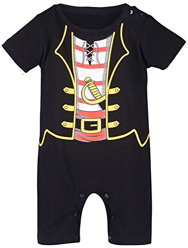 Mombebe Baby Boys' Pirate Costume Romper (12-18 Months, Black) -