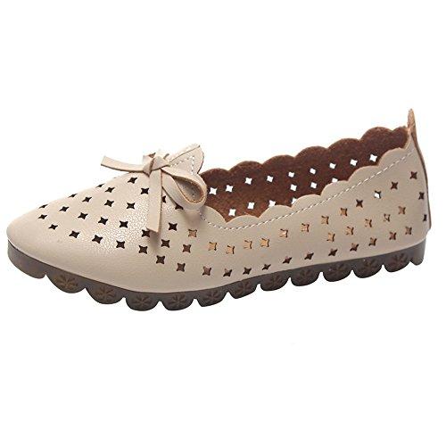 (Sherostore ♡ Women's Casual Breathable Comfort Walking Office Flat Leather Loafer Nurse Walking Flat Ladies Shoes Beige )