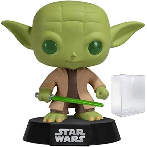 Funko Pop! Star Wars: Master Jedi Yoda with Lightsaber #02 Vinyl Bobble-Head Figure (Bundled with Pop Box Protector Case)