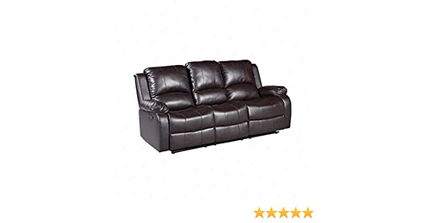 Mecor Bonded Leather Recliner,Living Room Reclining Sofa Furniture (3 Seat, Brown)