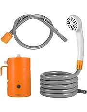 JAYETEC - Conjunto de ducha portátil para exteriores, ducha de acampada recargable por USB, 4400 mAh, bomba de ducha alimentada por batería, para campamentos, senderismo, viajes, playa, mascotas, floración, sistema de agua al aire última intervensión IPX7 Wat