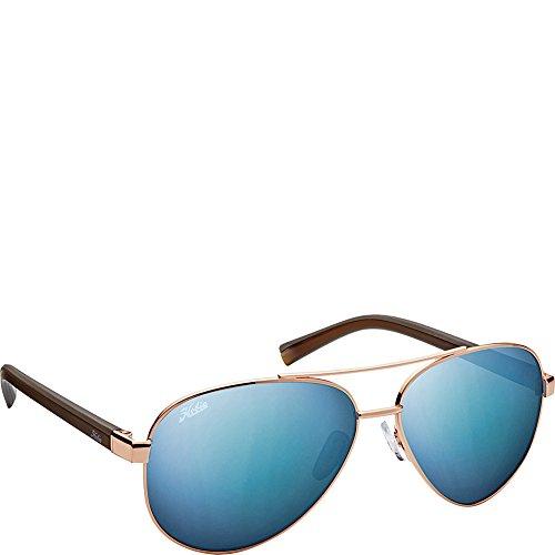 (Hobie Eyewear Broad Sunglasses (Shiny Gold Frame/Grey/Cobalt Mirror Polarized Pc)