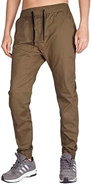 ITALY MORN Men's Chino Jogger Casual Pants Khakis Jogging Slim Fit Elastic Waist