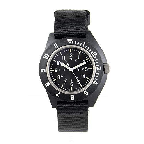 (Marathon Watch WW194001BK 2019 Edition Navigator Swiss Made Military Issue Pilot's Watch with Tritium - Sapphire Crystal, Steel Crown, Battery Hatch - ETA F06 Movement (41mm, Black, No Markings))