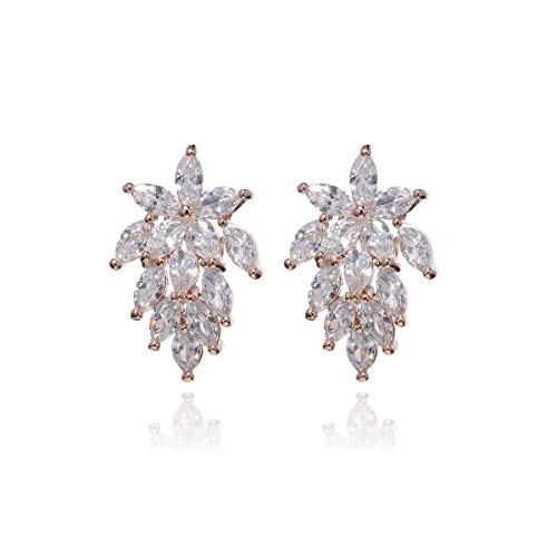 Women's Cubic Zirconia Bridal Earrings Sterling Silver Marquis-Cut Crystal CZ Rhinestone Graceful Curved Floral Leaf Cluster Wedding Earrings for Bride Bridesmaids Gift Party Gala Earrings for Girls
