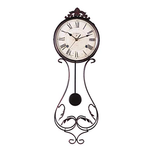Vintage Wall Clock/Roman Wrought Iron Pendulum Clock/Mute No Ticking/Easy to Read, Suitable for Living Room, Decoration, Gift (21 × 63cm, Black)
