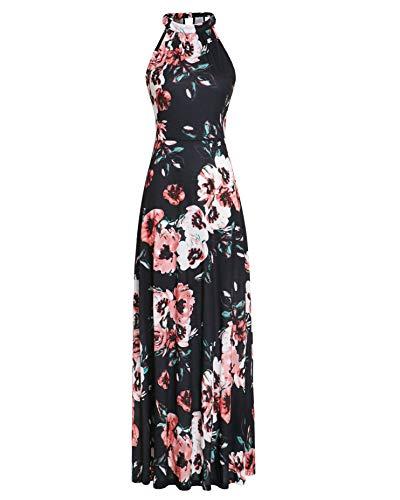 STYLEWORD Women's Off Shoulder Elegant Maxi Long Dress(Floral07,M)