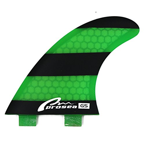 Prosea FCS18 Surfboard fins FCS Base Surfing thrusters Made of Fiberglass and Honeycomb with 1 Key and 6 Screws (Black and Green)