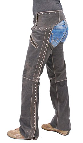 Jamin' Leather Women's Studded Trim Vintage Brown Leather Chaps w/Pockets (Womens Vintage Chaps)