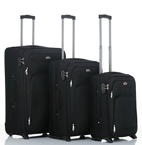BEIBYE 8007 Stoff Trolley Reisekoffer Koffer in Set-XL-L-M(Boardcase) in 6 Farben (Schwarz, Set)