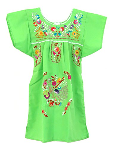 (Ethnic Identity Embroidered Mexican Youth Girl Dress (Ages 10, Lime Green))