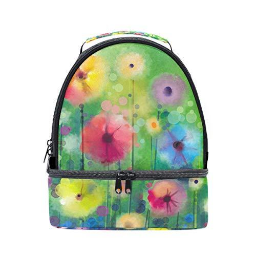 à Cooler aquarelle Sac pour lunch avec Folpply bandoulière Floral Tote isotherme Pincnic Boîte l'école réglable à 6nxp0w1