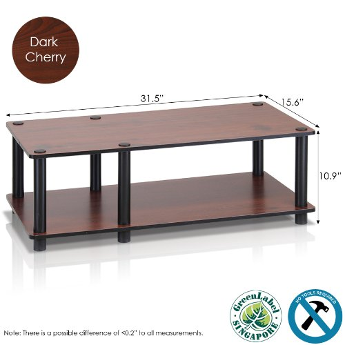 Furinno 11174DC(BK)/BK Just No Tools Dark Cherry Mid Television Stand with Black Tube