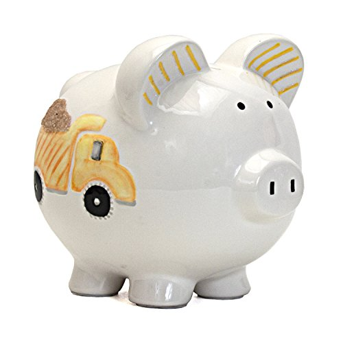 Child to Cherish Ceramic Piggy Bank for Boys, Digger Dump Truck