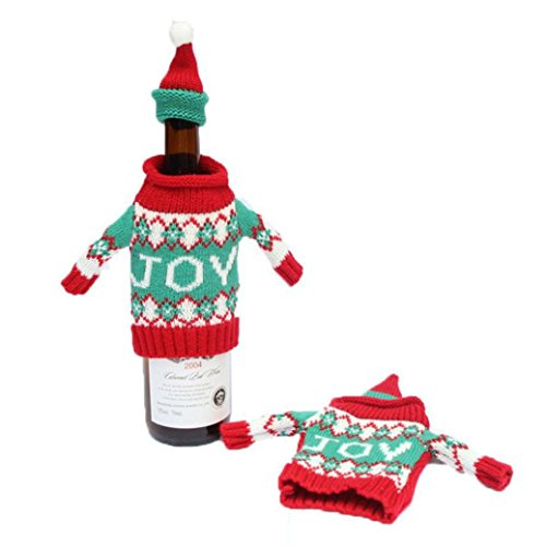 Wine Hold Bottle Doll, Misaky Cover Decoration Home Party Santa Claus Snowman Christmas (joy)