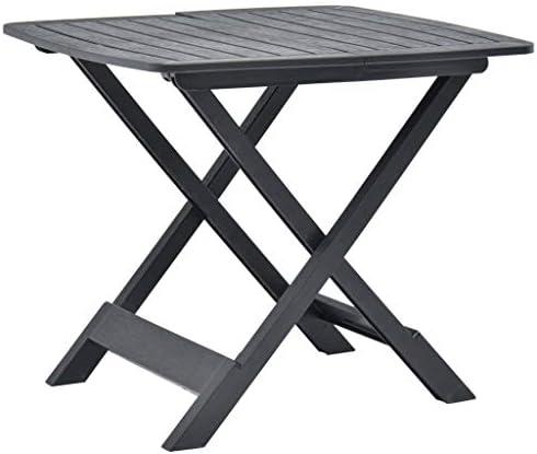 vidaXL – Tavolo da giardino pieghevole, per balcone, terrazza, tavolo pieghevole, tavolo da campeggio, tavolino da pranzo, tavolo da bistrot, antracite, 79 x 72 x 70 cm, in plastica