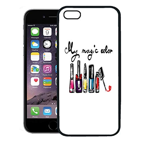 (Semtomn Phone Case for iPhone 8 Plus case Cover,Pink Bottle Nail Polish Red Drawing Accessory Beautiful Beauty Bright,Rubber Border Protective Case,Black)