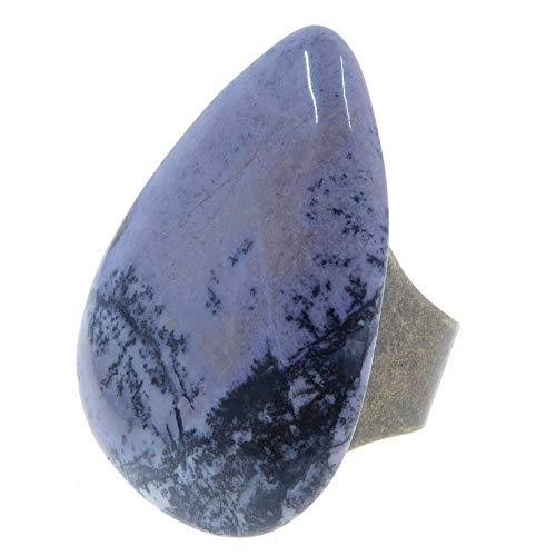 Satin Crystals Jasper Dendritic Ring 5-11 Boutique Purple Black Inclusion Stone Drop Adjustable Bronze Passion B04 ()