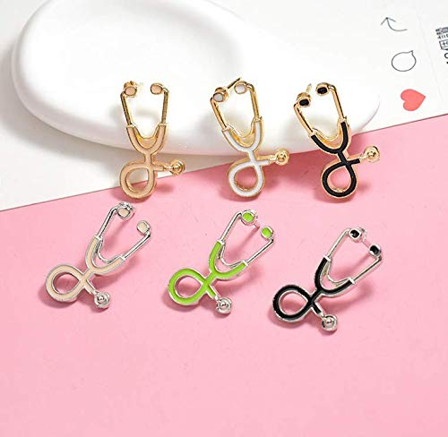 Astra Gourmet 6pcs Fashion Cartoon Enamel Stethoscope Brooch Pins Set for Unisex Child Women's Clothing Decorate Doctors Shirt Collar Lapel Pin Button