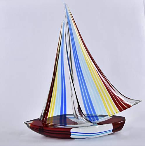 Murano Glass art – Sailboat with Spinnaker – by Glass Master Alberto Dona