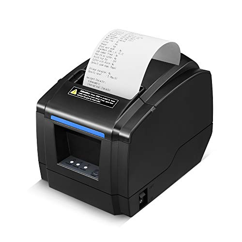 LOSRECAL Thermal Receipt Printer, Restaurant Kitchen Printer of Sound Reminder/Wall-Mount/Auto Cutter, 3 inches 80mm Desktop POS Bill Machine with USB/LAN/Cash Drawer Port, Support Windows/Mac
