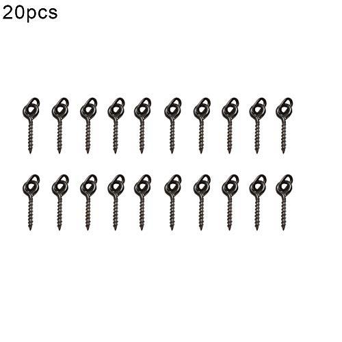 LBgrandspec Fishing Accessory,12mm Oval Loop Bait Metal Screws for Carp Fishing Tackle Pop Up Rigs Tools-Black 20pcs ()