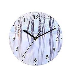 Emptystar Clock Radio - Creative Wooden MDF Wall Clock Farmhouse Decor Wall Clocks Large Decorative Simple Modern Round Wooden Wall Clock Non-Ticking AA Battery Powered (B)