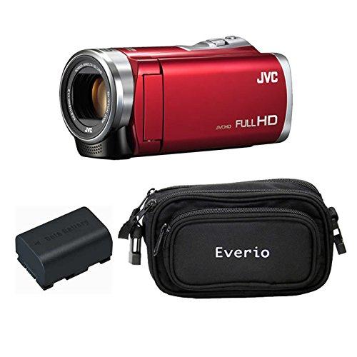JVCケンウッド Everio HDビデオカメラ GZ-E880-R レッド 内蔵メモリー8GB 3点セット ( 本体 + 予備バッテリー + カメラバッグ )