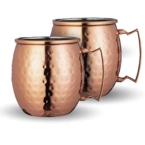 Chef's Star Set of 2 Handmade Hammered Copper Moscow Mule Mug and 2 Copper Shot Glasses - 100% Pure Copper with Brass Handle - Hammered Moscow Mule Mug Cup