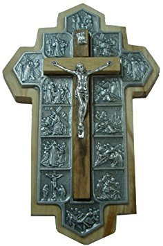 Olive Wooded Hanging Cross With The 14 (Wooded Olive)