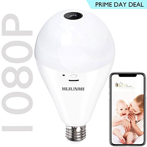 Wifi Bulb Security Camera -1080P Wireless Security Camera Bulb- 2MP Fisheye LED Light 360° Panoramic for Remote Light Cameras, Motion Detection for iPhone/Android/Windows